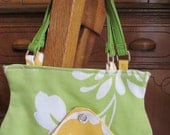 Child Size Purse Green and Yellow Floral Upcycled Creative ReUse