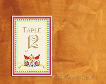Boho Chic Table Number Indian RUSTIC RANGOLI Pdf Diy Printable Bohemian Seating Sign Wedding Decor Table Setting Asian Online Thai Turkish