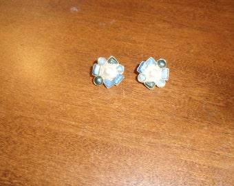 vintage clip on earrings blue white stones