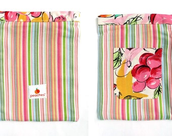 Peachy Striped Nexus Bag with Flowered Pocket, Fits Nook Color, Kindle Fire 1.0, Kindle Basic and Paperwhite, Nexus 7 and Samsung Tab Too