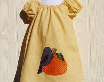 Fall Pumpkin Appliqued Peasant Dress Size 12 Months