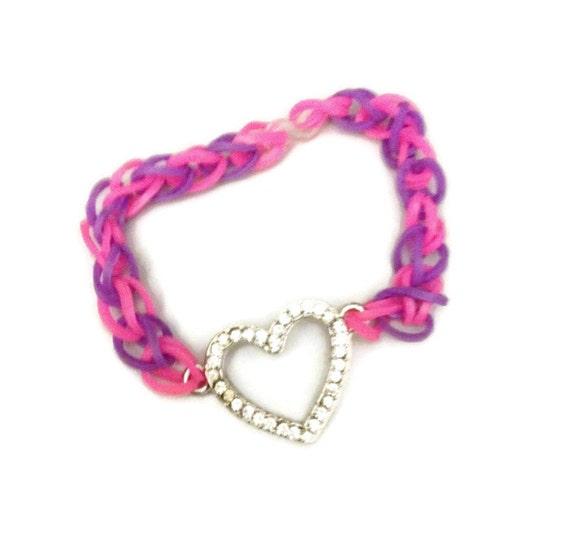 items similar to friendship bracelet st valentine bracelet rainbow loom bands rubber band. Black Bedroom Furniture Sets. Home Design Ideas