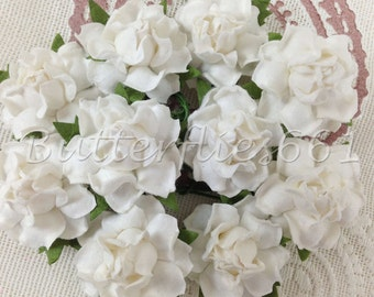 100 Handmade Mulberry Paper Flowers White Wedding Roses Code SM - 15