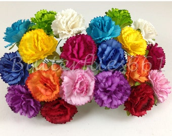20 Handmade Mulberry Paper Flowers of  Rainbow  Carnations CA-427