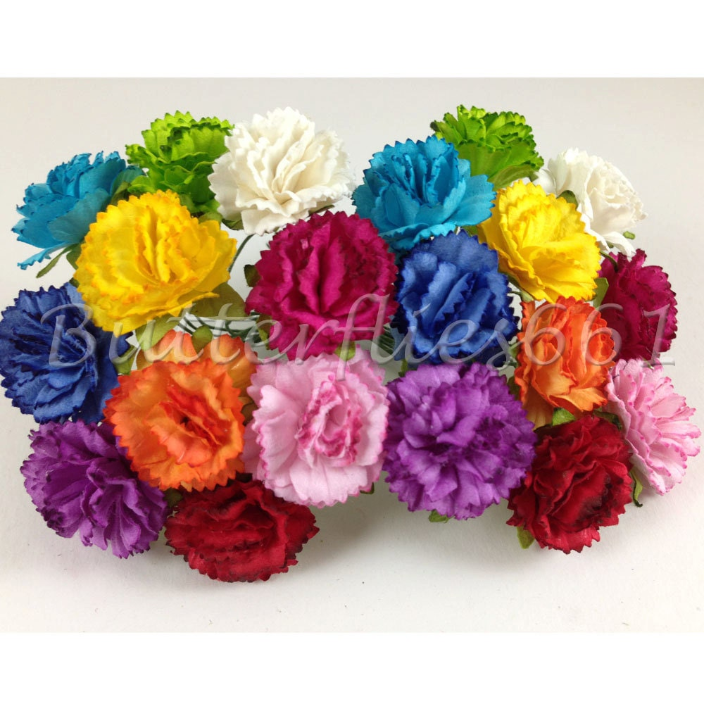20 Handmade Mulberry Paper Flowers of Rainbow Carnations