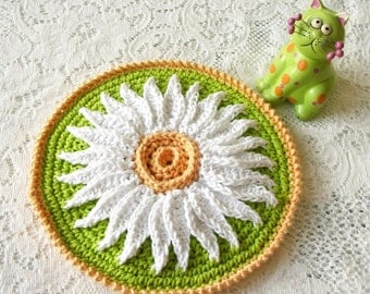 Crochet Potholder - Daisy Hot Pad in Lime Green - Crochet Flower  Retro Pot Holder