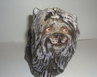 Hand Sculpted Clay Works Art Studio Pottery Clay Lhasa Apso Great Piece Jena