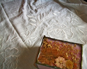 Antique Vintage Pure Linen Heavily Hand Embroidered Whitework Tablecloth/Drape