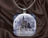 Castle in the Moonlight glass tile pendant