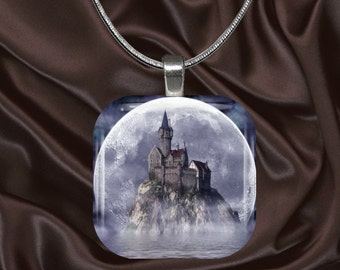 Castle in the Moonlight glass tile pendant