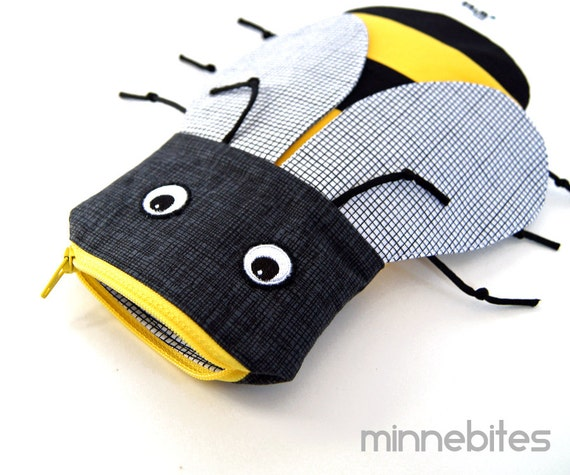 Bumble Bee Bag by MinneBites / Handmade Bumble Honey Bee Pencil Bag - School Bag - Boys Pencil Case - Boys Birthday Gift - Ready to Ship