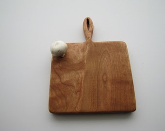 Cherry cutting board with a hand carved handle, Ready to ship