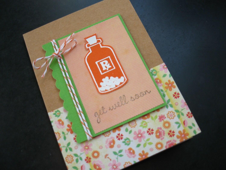 handmade get well soon card feel better card bottle of love