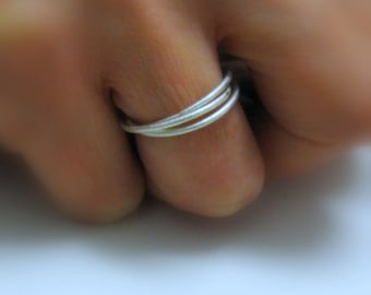 Fine Jewelry - Skinny rolling Ring - Sterling Silver Trinity Ring - Promise Ring - Triple Band Ring - Handmade  By Amallias