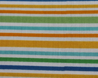 Orange, Blue, Mustard Cotton Vertical Stripe Riley Blake Designed- Novelty Baby Nursery Fabric, PillowCases, Crib Sheets, Headbands