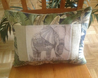 Elephant Pillow - Earthy Ethnic Home Decor - African - OOAK Green & Beige Designer Pillow - Original Art Transfer