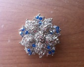 Capri Blue and Clear Crystal Broach