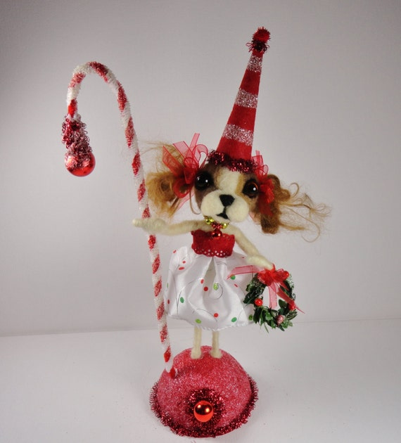 Christmas King Charles Cocker Spaniel Puppy Dog brown white tan chenille mercury glass needle felted mohair - Bitsie