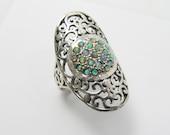 Opal ring. Sterling silver ring. Filigree ring. Opal silver ring. Opal jewelry. Wide ring. Wide silver ring. Filigree silver ring.