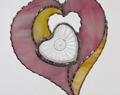 Stained Glass Suncatcher - Four Hearts in One, Vintage Trinket Dish, Valentine Heart, Valentine's Day Gift
