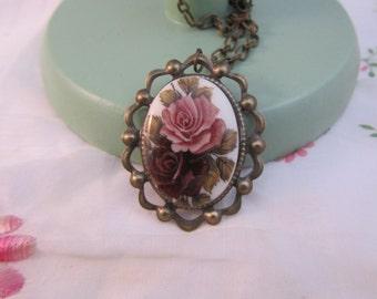 Brass Rose Long Necklace