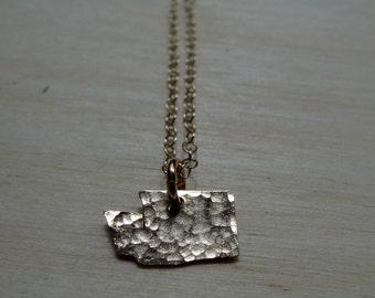 Tiny Gold Washington Necklace. Small Washington State Shaped Charm. I Heart Washington Gold Pendant. Personalized Wedding Jewelry For Her.