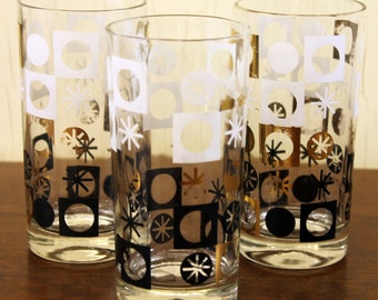 Vintage Set of 3 Gold, White & Black Geometric Glasses (E3324)