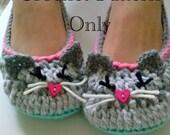 Women's Kitty Cat Slippers Crochet Pattern #201 PDF Instant Download Women's sizes 6-10