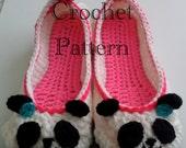 Women's Panda Slippers Crochet Pattern #202 PDF Instant Download Women's sizes 6-10