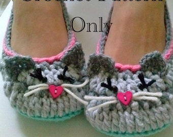 Women's Kitty Cat Slippers Crochet Pattern #201 PDF Instant Download Women's sizes 6-10