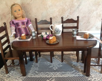 American girl doll:  Furniture Espresso table 6 chair set American girl doll