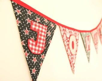 Personalized Fabric Banner, Birthday Party Flags, Baby Boy Shower Bunting, Red, White, Blue Decor