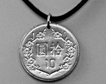 TIAWAN NECKLACE  - cherry blossom jewelry - asian coin necklace - yuan  flower coin pendant  No.001044