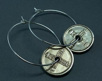 Norway Earrings, Norway Jewelry. Coin Earrings. Norwegian Coins. Norway Hoops. Norway Gift. sterling silver
