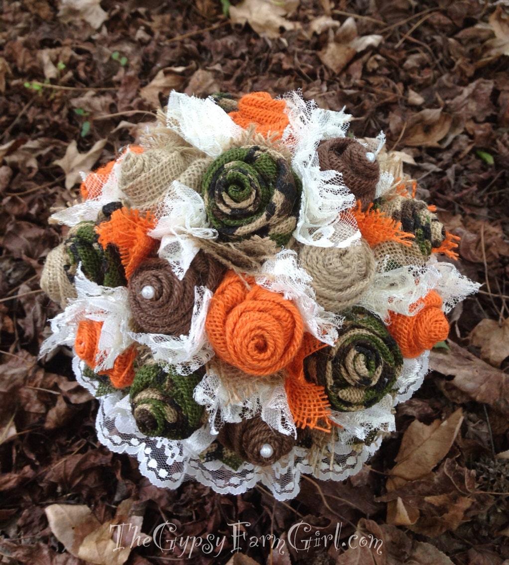 Hunting Camo Wedding Ideas: Ready To Ship Camo And Orange Burlap And Lace By GypsyFarmGirl