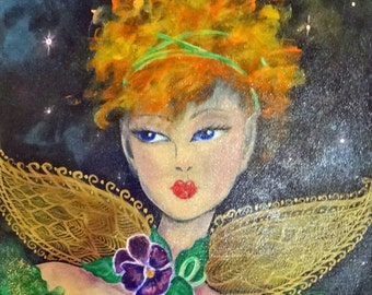 Green Fairie 16 x 20  Acrylic Painting on Canvas by Lesli Pringle Burke