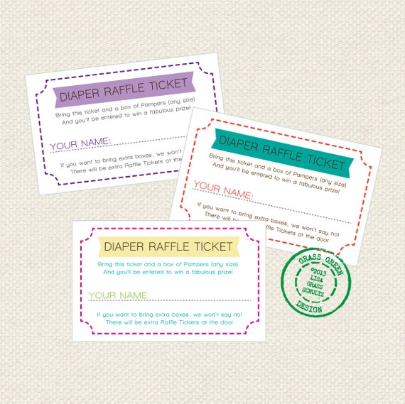 PRINTABLE Diaper Raffle Tickets Custom Color by grassgreendesign