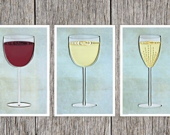 Wine Paper Art Print Set, Bar Art Print, Quilling Art Wine Print,   Red White and Champagne, dining room art, Bar Art