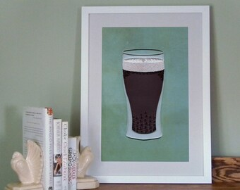 Beer Poster, Bar Art Print, Quilled Stout Beer in a Glass, Man Cave Decor, quilling art print, Paper art print, 12x18in, Ready to ship