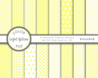 Yellow Digital Paper - Light Yellow - Instant Download - Commercial Use - yellow chevron, yellow polka dots, yellow stripes - P