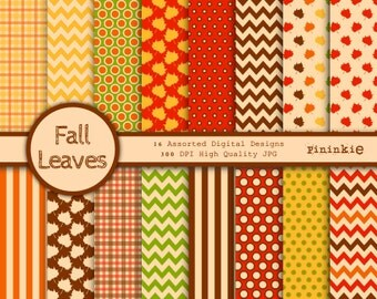 Fall Digital Paper - Thanksgiving Scrapbooking Paper - Instant Download - Commercial Use - Leaves, Chevrons, Polka Dots Autumn Digital Paper