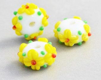 Yellow Lampwork Beads, Yellow Flower Beads, White Green Glass Beads, Three