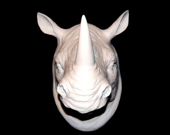 White Rhino Head Wall Mount - Rhinoceros Faux Taxidermy RH01