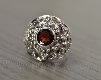 Garnet Statement Ring, size 7.5, silver chunky unisex menswear ring, January Birthstone - Georgie Ring