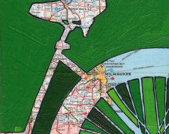 Bike Milwaukee 13x13-bicycle art print featuring Milwaukee, Fond du Lac, Shorewood, Whitefish Bay Wisconsin bike art print