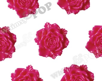 6 - Large Hot Pink Bloomin' Rose Cabochons, Rose Shaped, 24mm (R6-036)