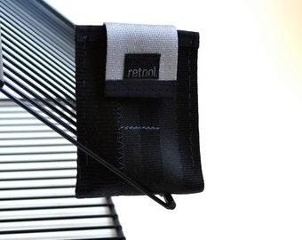 Minimalist Wallet - Front Pocket Wallet - Vegan Seatbelt Wallet - Small Credit Card Holder in Black and Silver