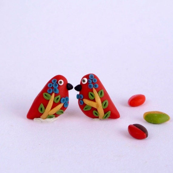 Berry Birds Post Earrings by  The Little Creatures