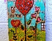 Hearts a Blooming - Textured Mixed Media Abstract Painting PFATT HAFAIR