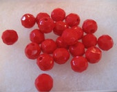 Vintage Opaque Red Crystals 8mm Made in Western Germany QTY - 8
